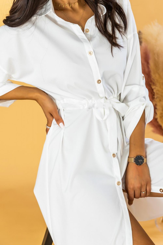 Biała koszulowa sukienka z wiązaniem Marcelina 3