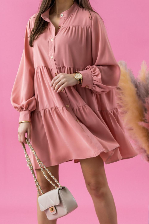 Różowa sukienka koszulowa oversize z falbankami Antonella 2