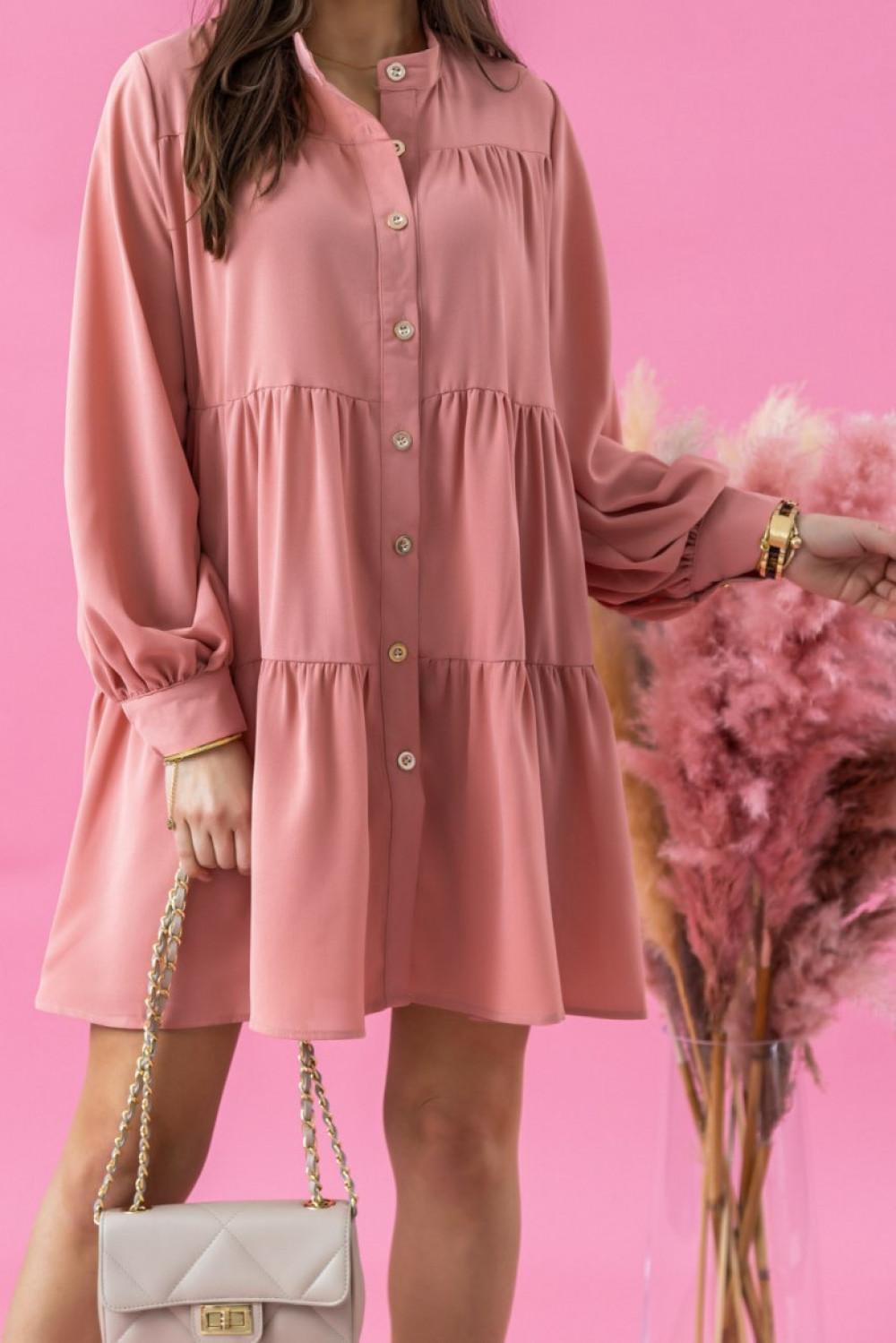 Różowa sukienka koszulowa oversize z falbankami Antonella 1