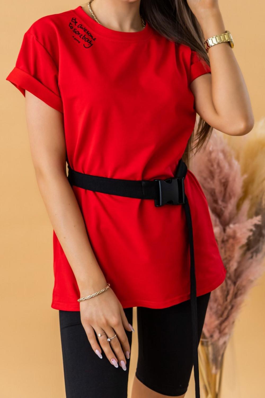 Czerwony komplet damski z t-shirtem i kolarkami Awesome 1