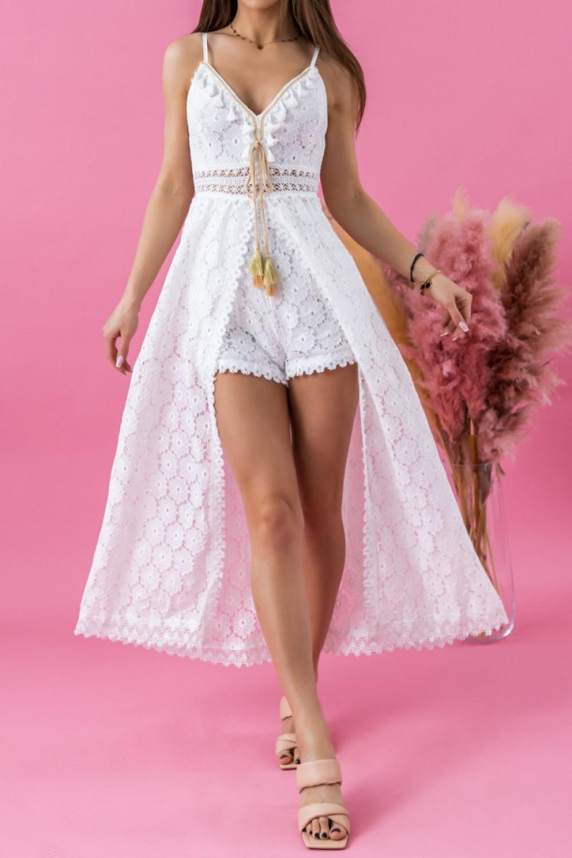 Biały letni kombinezon plażowy ażurowy boho Felicia 1