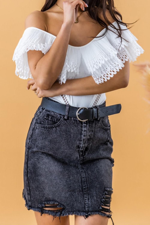 Czarna spódniczka jeansowa z przetarciami Carolina 3