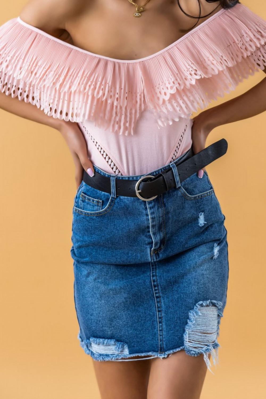 Granatowa spódniczka jeansowa z przetarciami Carolina 2