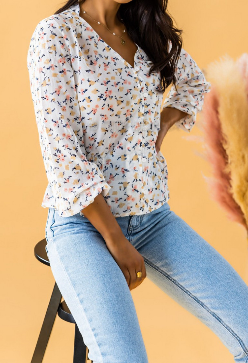 Ecru bluzka w delikatne kwiaty Editta 2