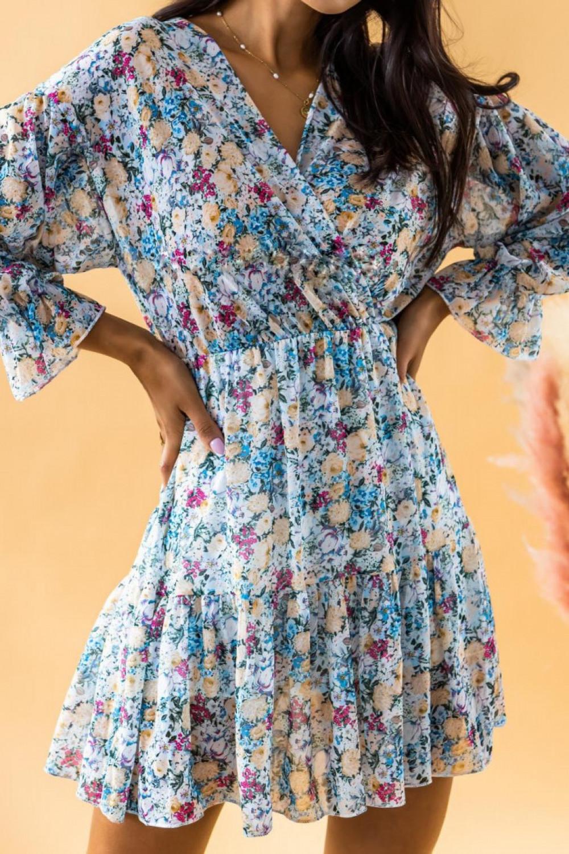 Niebieska sukienka kwiatowa rozkloszowana V-Neck Emilia 3