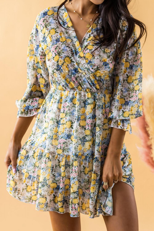 Żółta sukienka kwiatowa rozkloszowana V-Neck Emilia 2