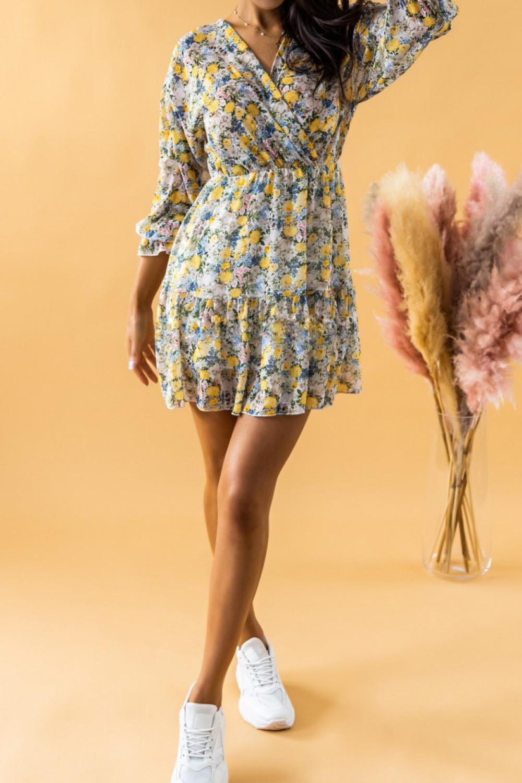 Żółta sukienka kwiatowa rozkloszowana V-Neck Emilia 3