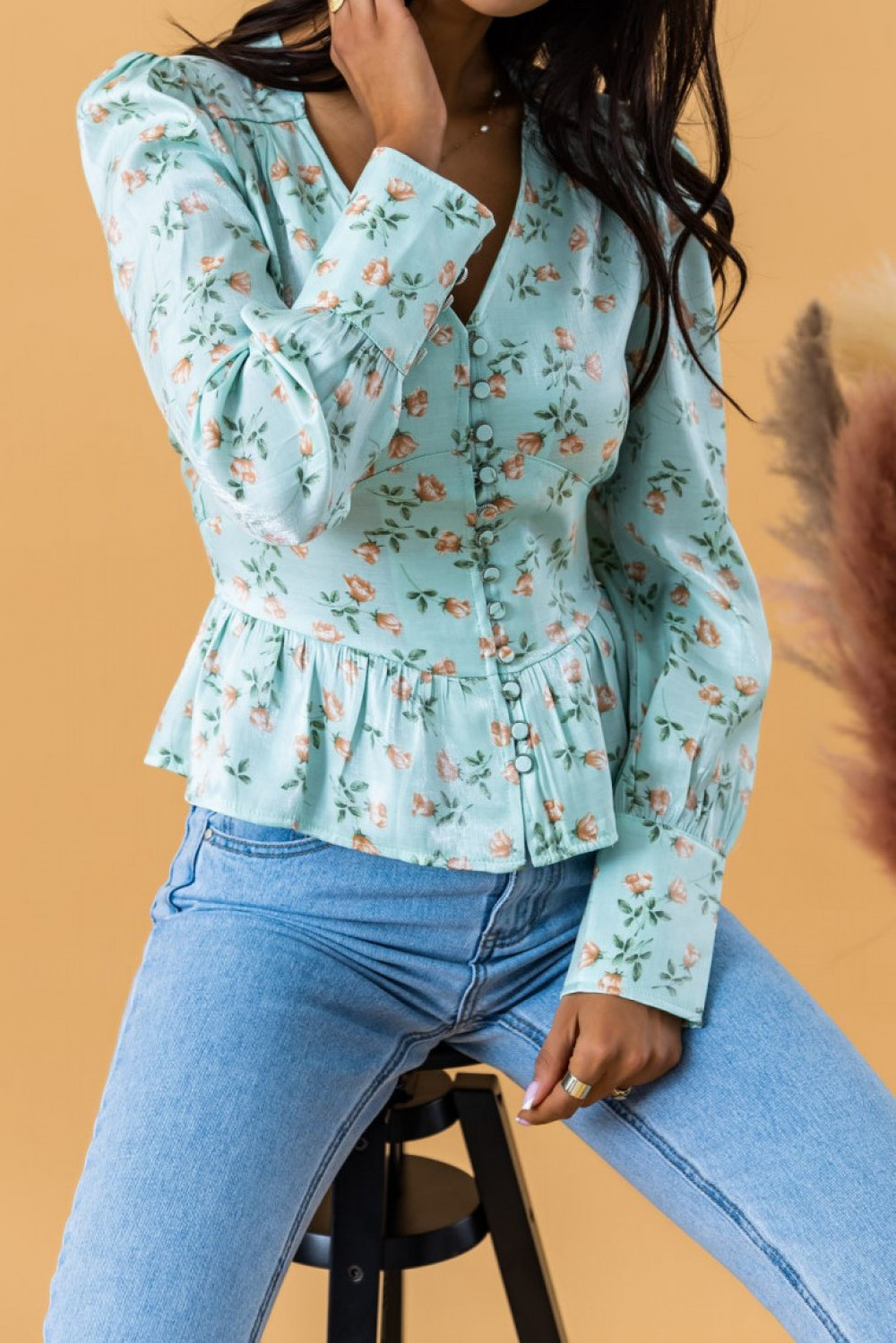 Miętowa gorsetowa bluzka kwiatowa Karines 2