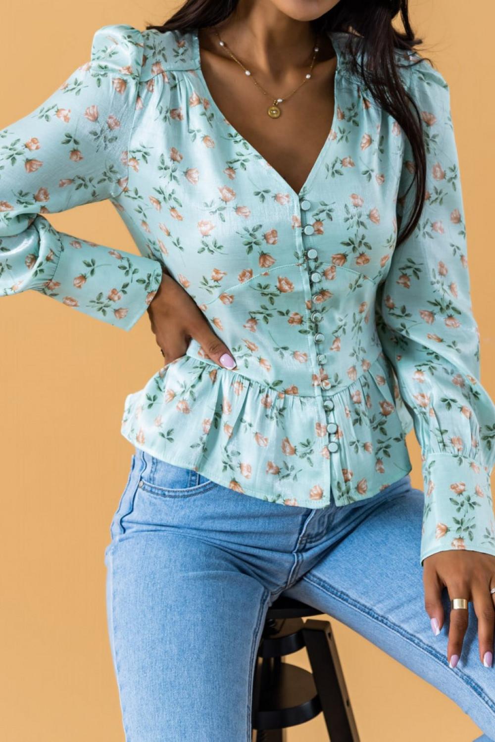 Miętowa gorsetowa bluzka kwiatowa Karines 1