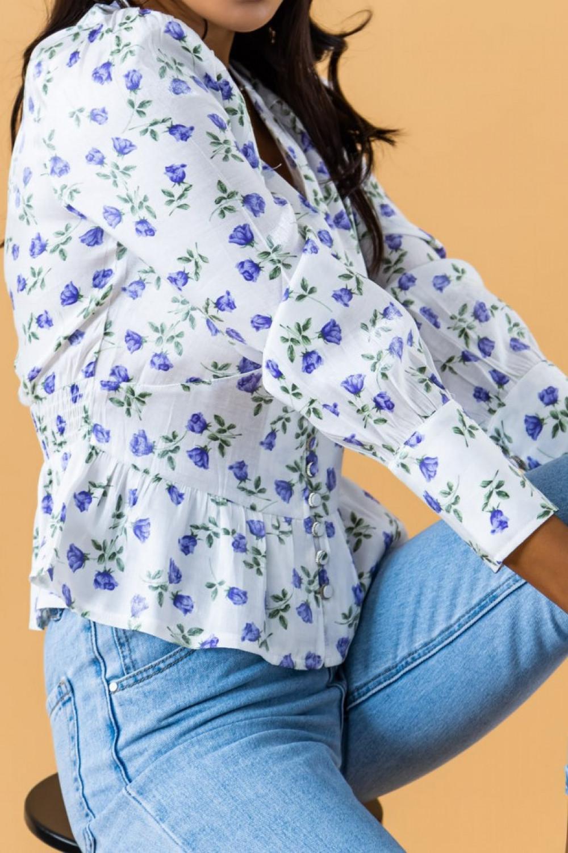 Biało-fioletowa gorsetowa bluzka kwiatowa Karines 3