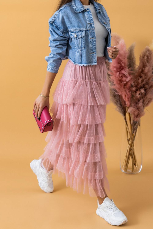 Jasnoróżowa długa spódnica tiulowa z falbankami Molly 2