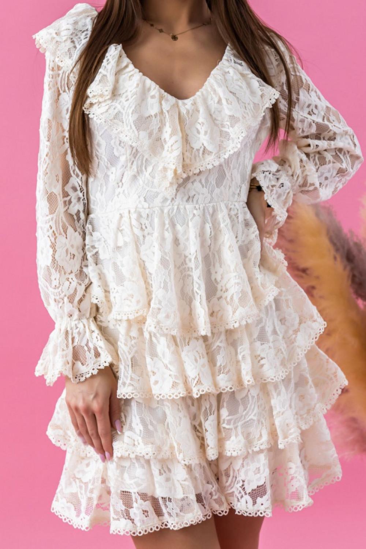 Ecru sukienka koronkowa rozkloszowana z falbankami Novia 1