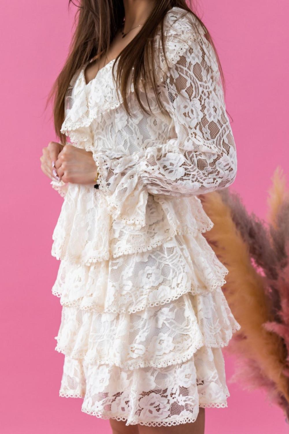 Ecru sukienka koronkowa rozkloszowana z falbankami Novia 2