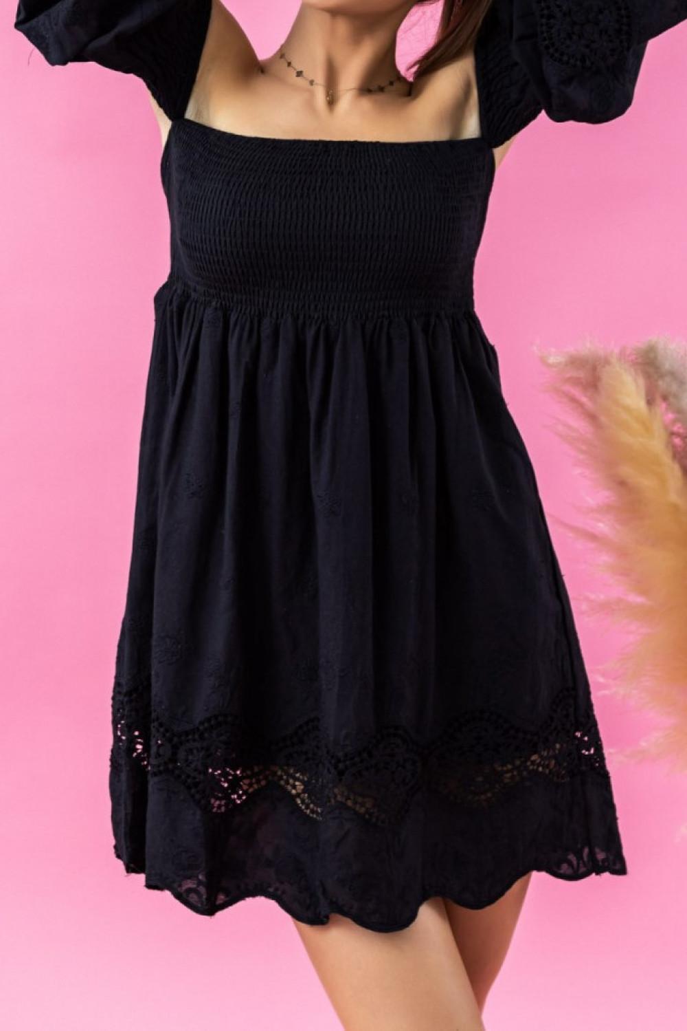 Czarna sukienka hiszpanka z koronką Luciana 2