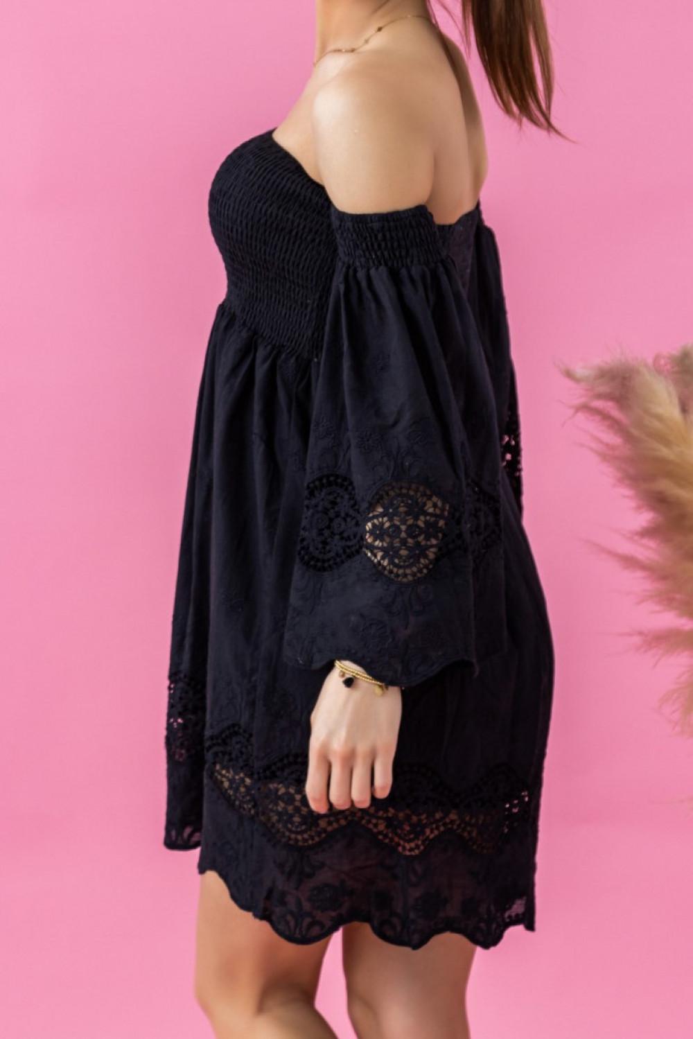 Czarna sukienka hiszpanka z koronką Luciana 3