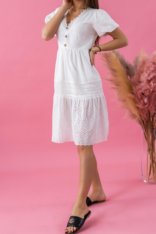 Biała ażurowa sukienka boho V-Neck Rosita 2