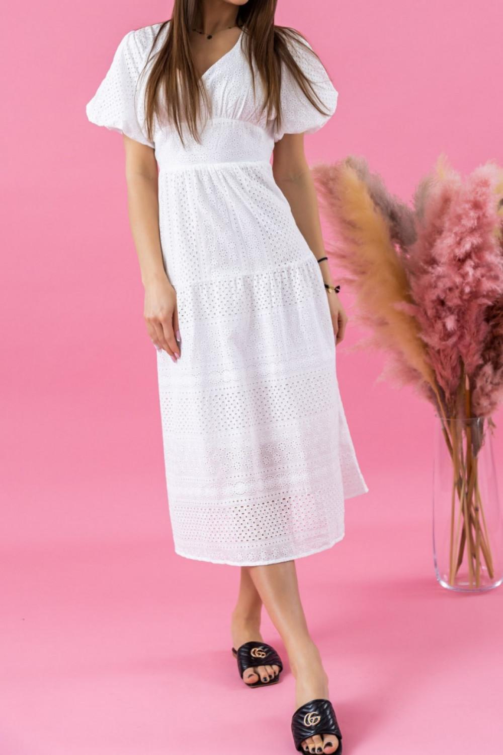 Biała ażurowa sukienka boho midi Isabella 1