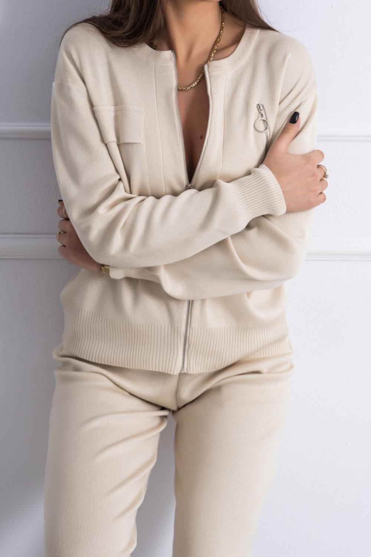Beżowy komplet damski z rozpinaną bluzą Belen 1