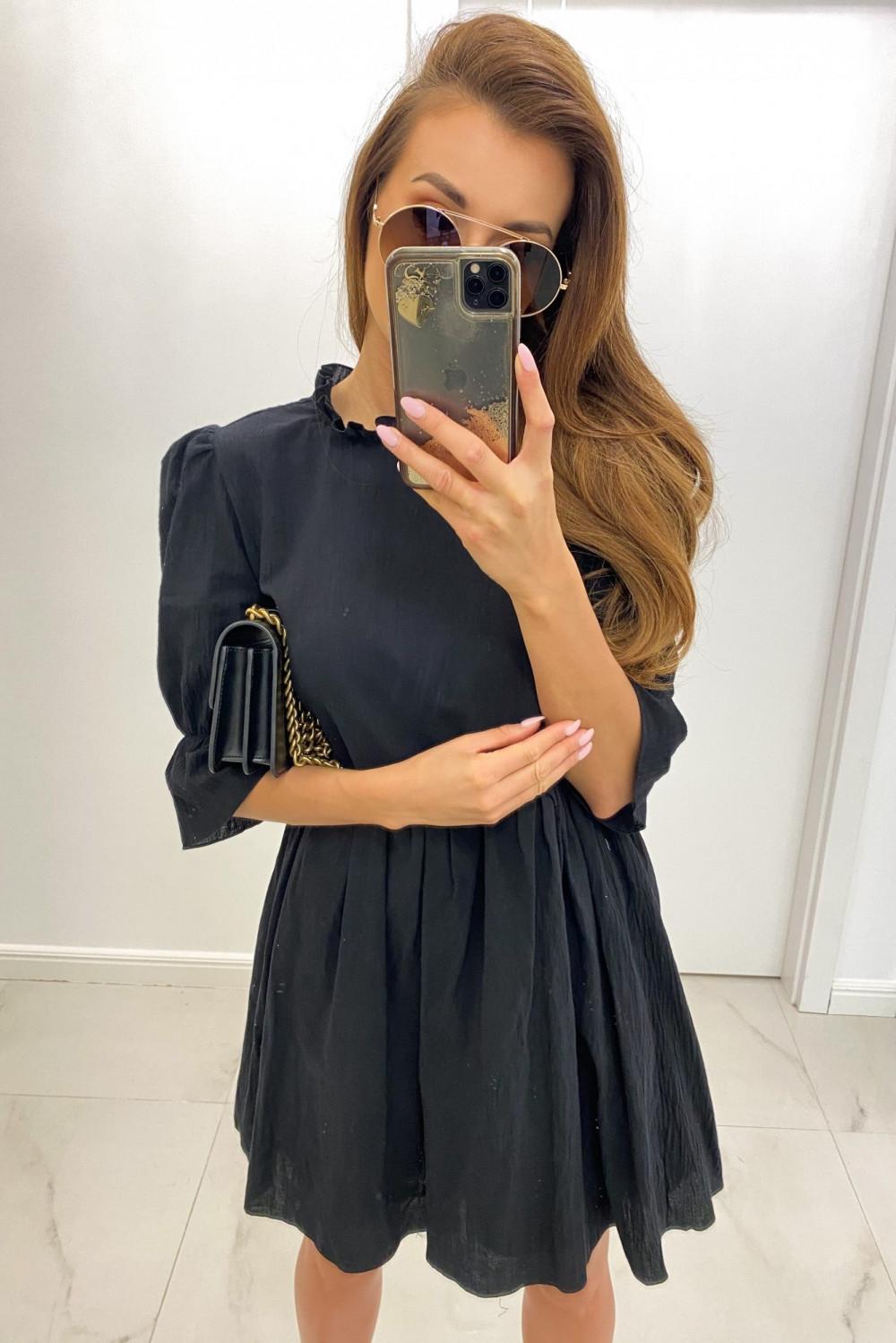 Czarna boho sukienka rozkloszowana z falbankami Denise 1