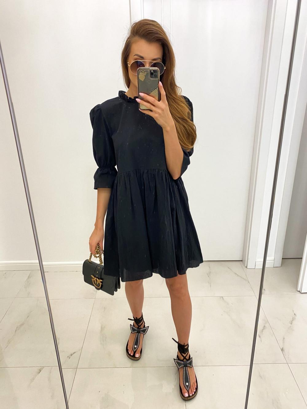 Czarna boho sukienka rozkloszowana z falbankami Denise 2
