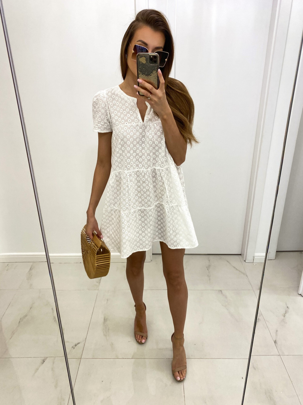 Biała boho sukienka rozkloszowana ażurowa Liana 2