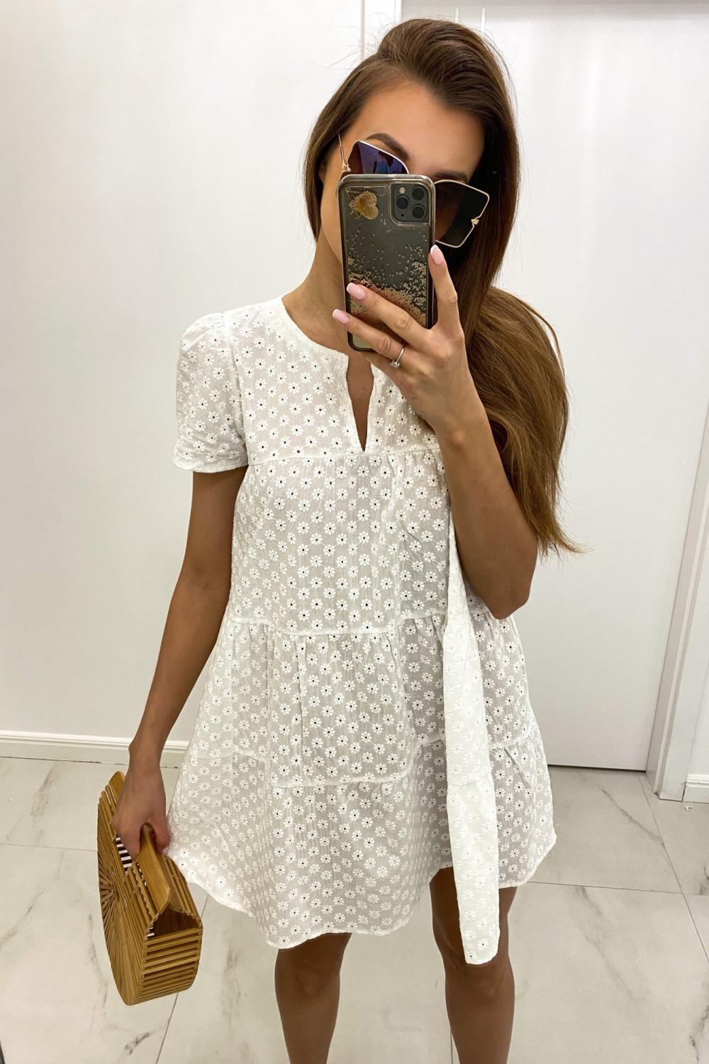 Biała boho sukienka rozkloszowana ażurowa Liana 1