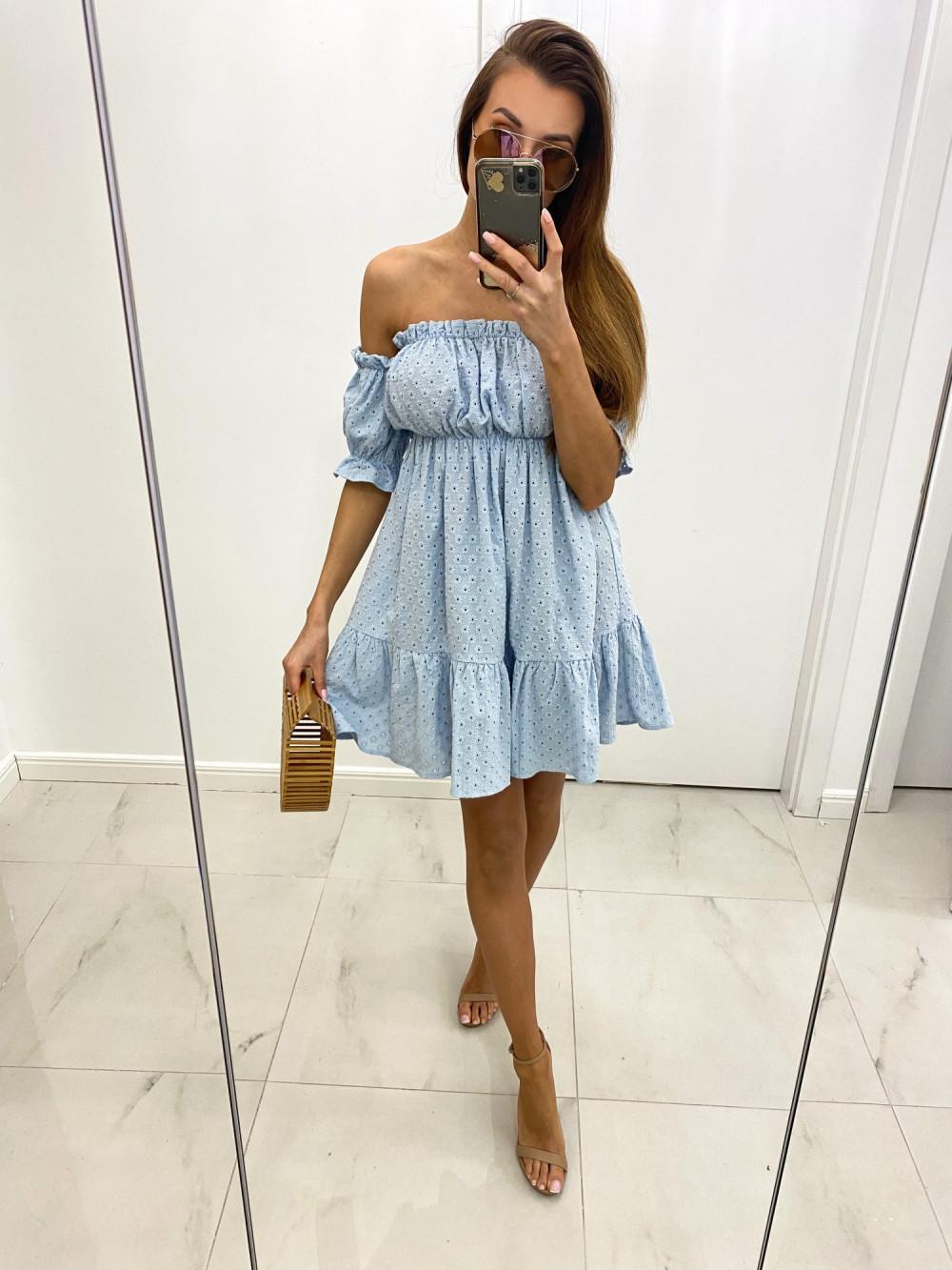 Jasnoniebieska boho sukienka hiszpanka ażurowa Liviana 2