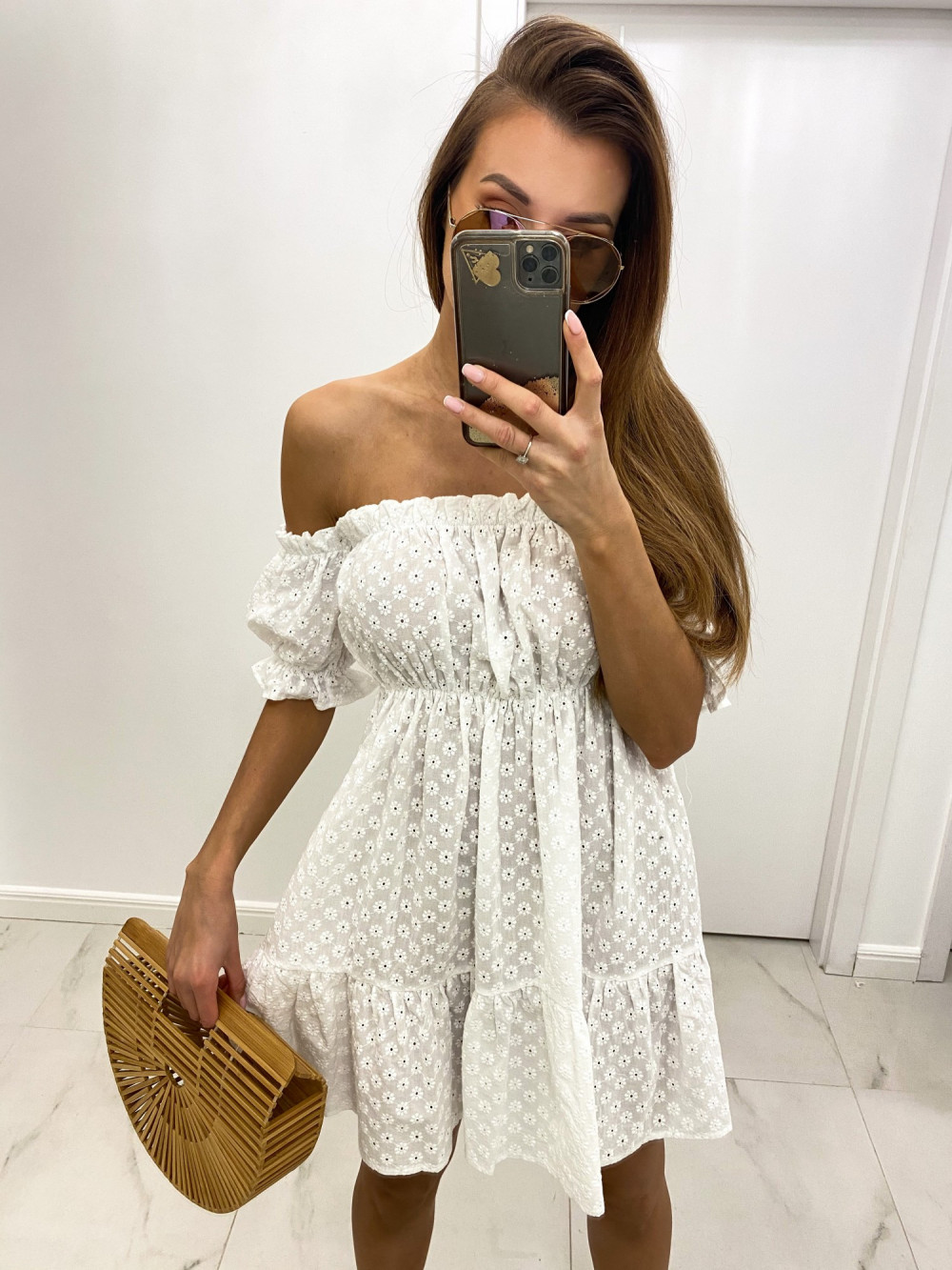 Biała boho sukienka hiszpanka ażurowa Liviana 1