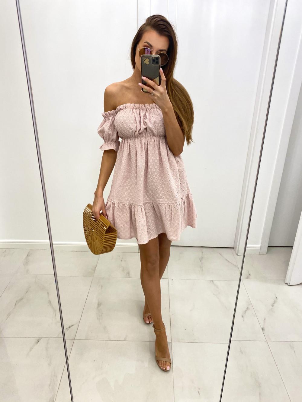 Pudrowo różowa boho sukienka hiszpanka ażurowa Liviana 2