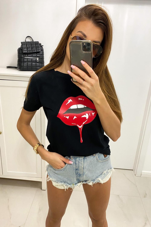 Czarny t-shirt z nadrukiem Kiss 1