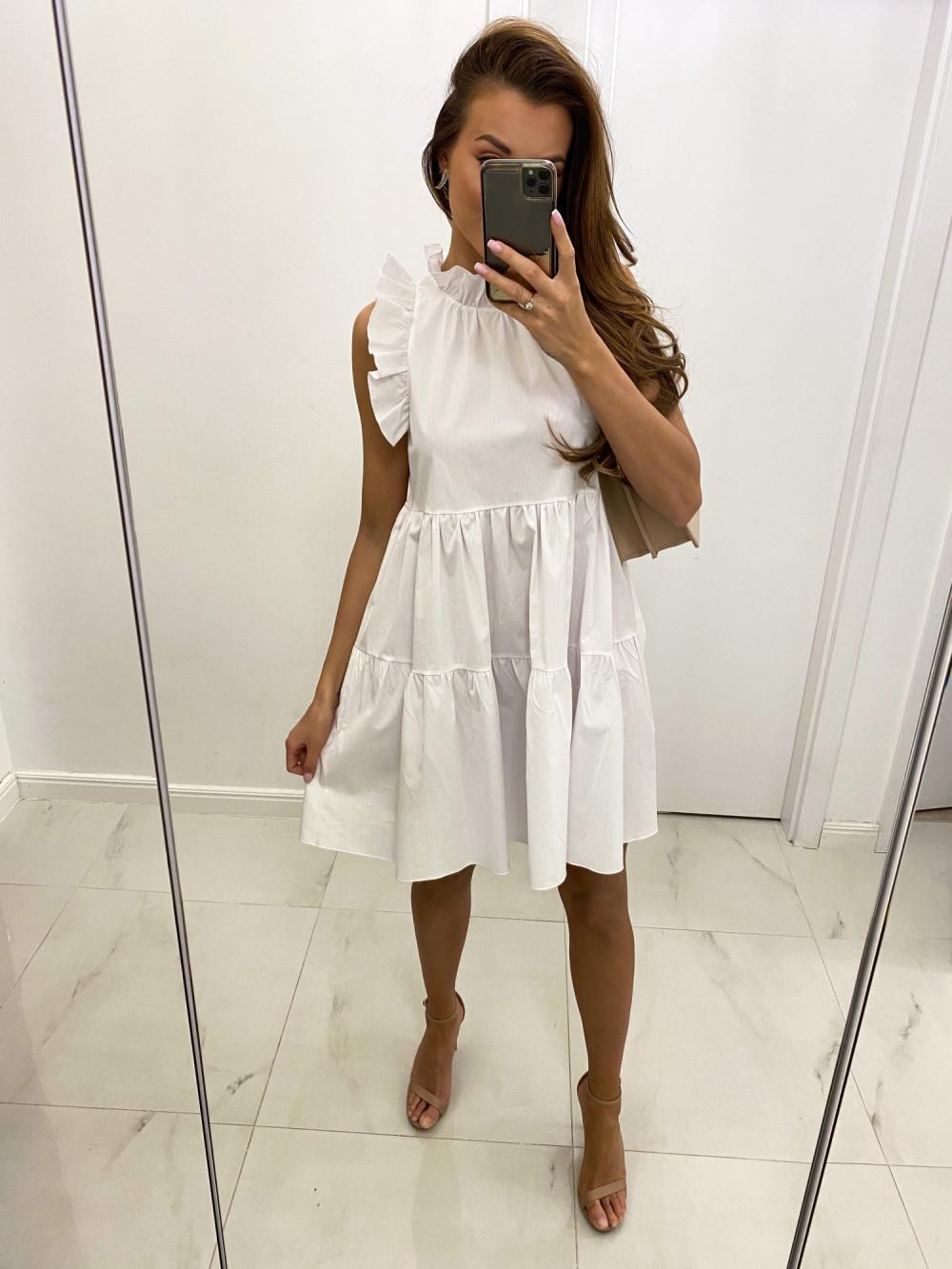 Biała sukienka rozkloszowana z falbankami boho Tullia 2