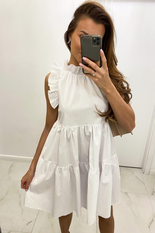 Biała sukienka rozkloszowana z falbankami boho Tullia 1