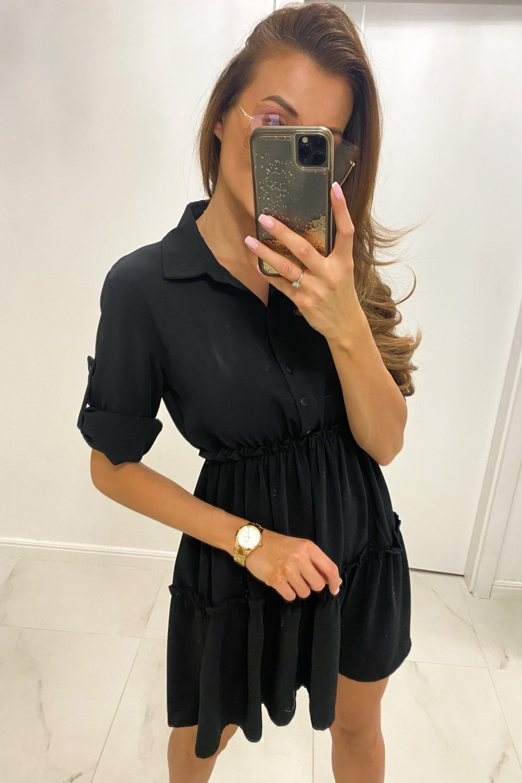 Czarna sukienka koszulowa rozkloszowana z falbankami V-Neck Chantal 1