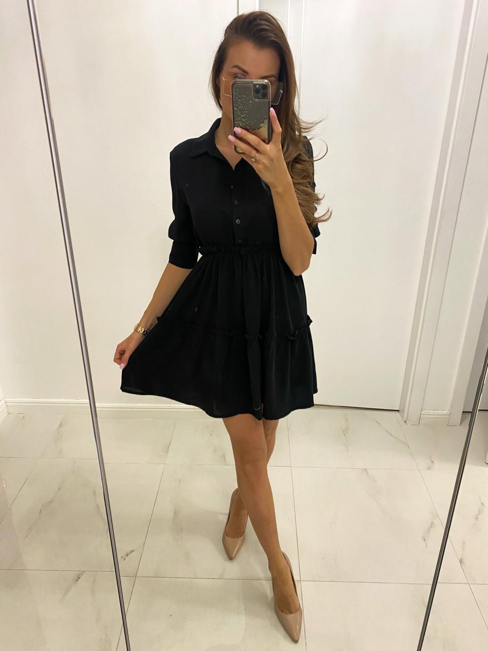 Czarna sukienka koszulowa rozkloszowana z falbankami V-Neck Chantal 2