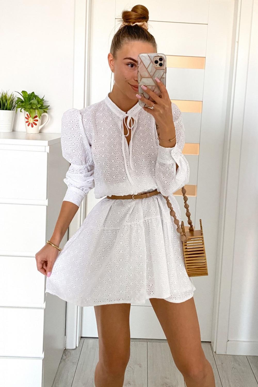 Biała ażurowa sukienka rozkloszowana Esther 1