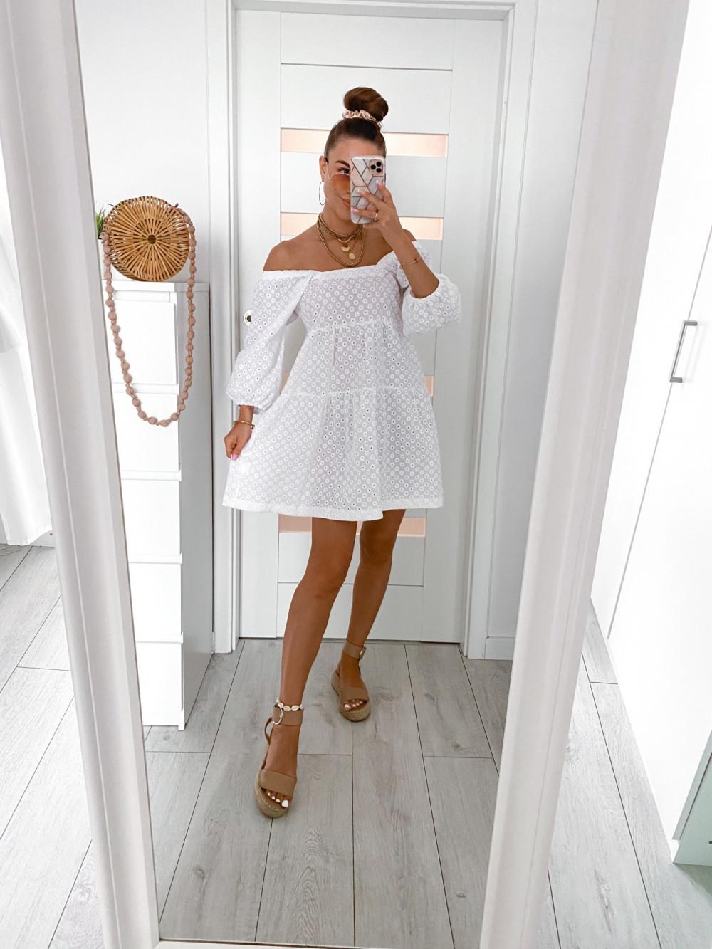 Biała ażurowa sukienka hiszpanka Juliana 2