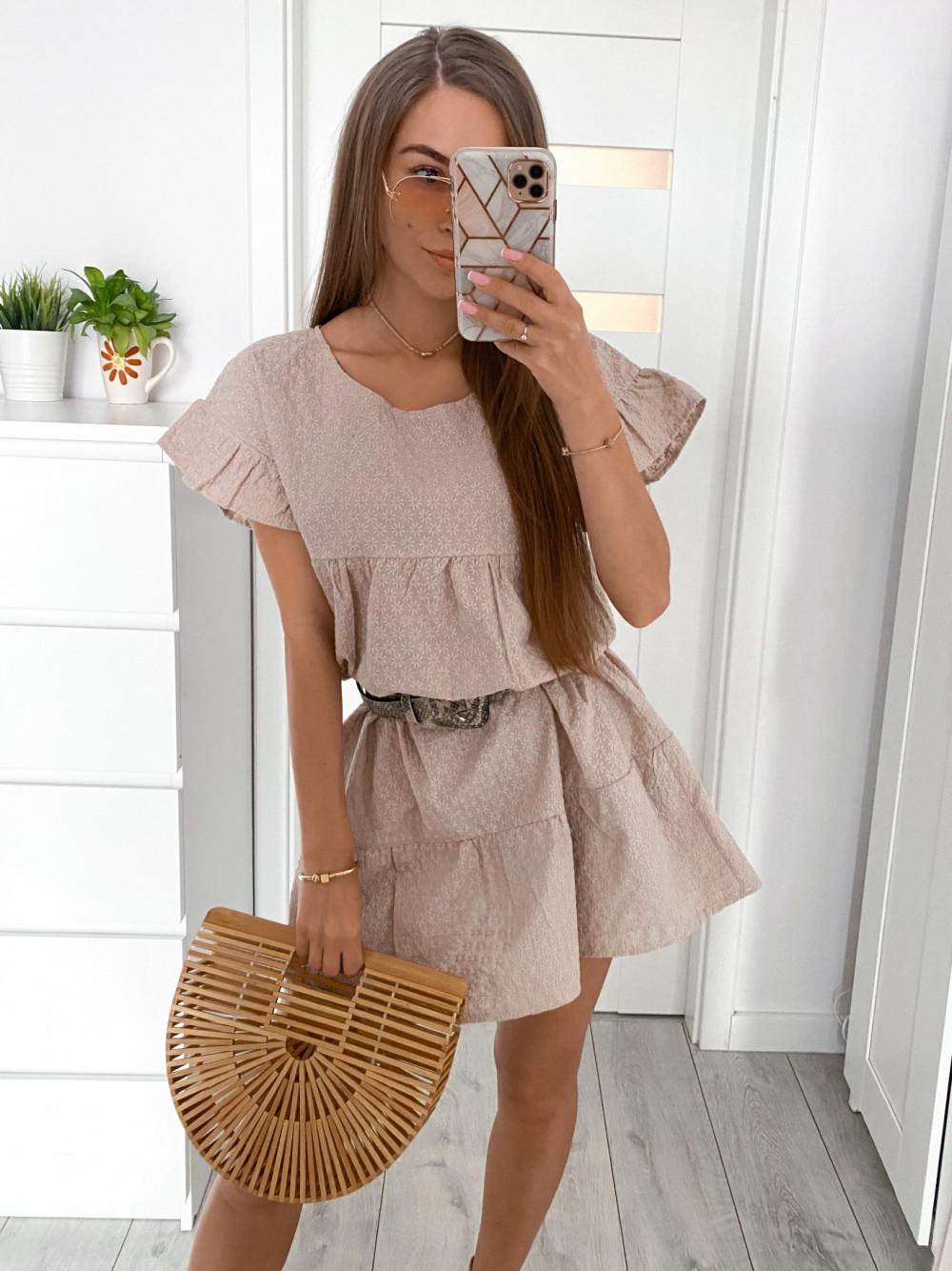 Beżowa sukienka haftowana oversize Melania 1