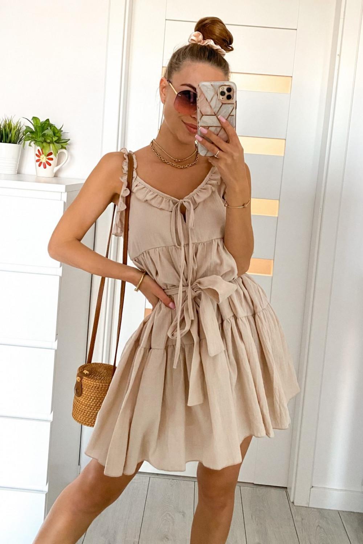 Beżowa sukienka rozkloszowana z falbankami Blanca 1
