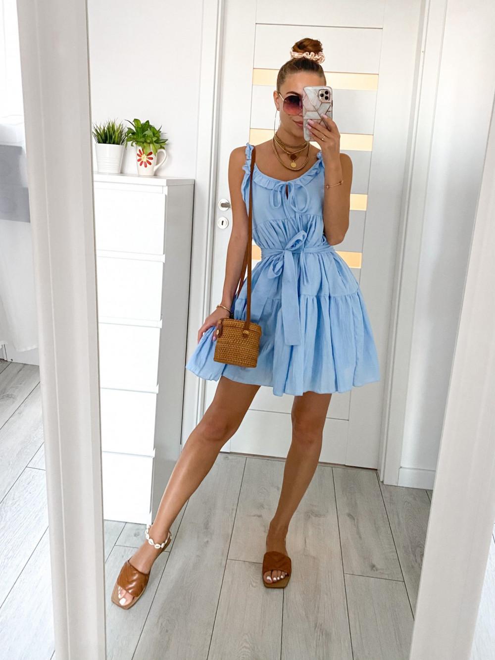 Jasnoniebieska sukienka rozkloszowana z falbankami Blanca 2