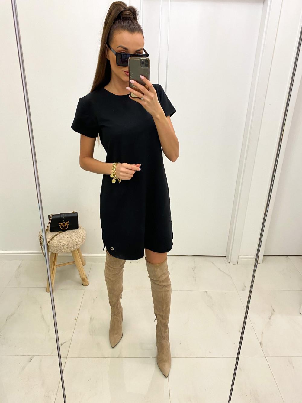 Czarna prosta sukienka t-shirt Layla 2