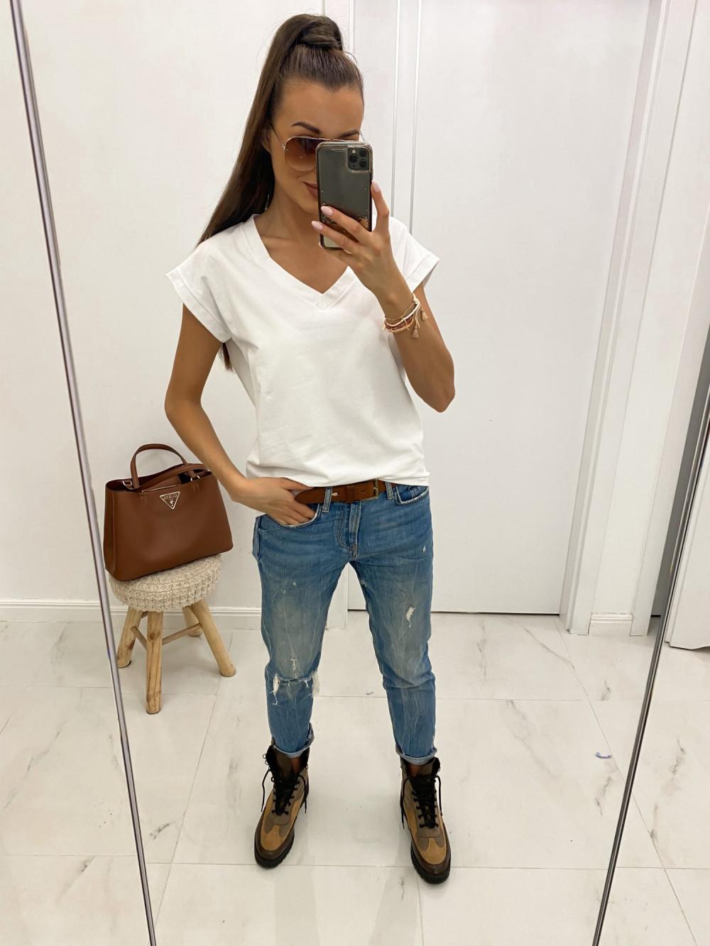 Biały luźny t-shirt V-Neck Julie 2