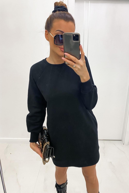 Czarna sukienka bluza z długim rękawem Laurette 1