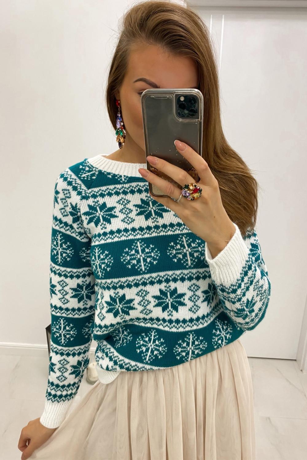 Świąteczny niebieski sweter Snowfall 1