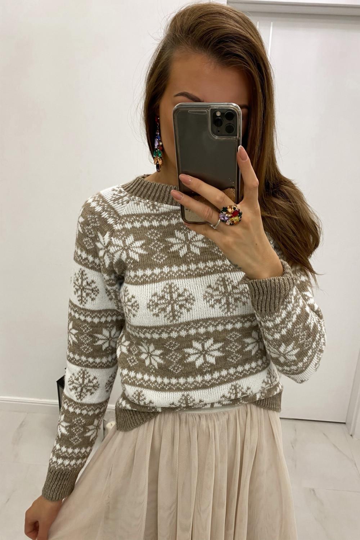 Świąteczny beżowy sweter Snowfall 1