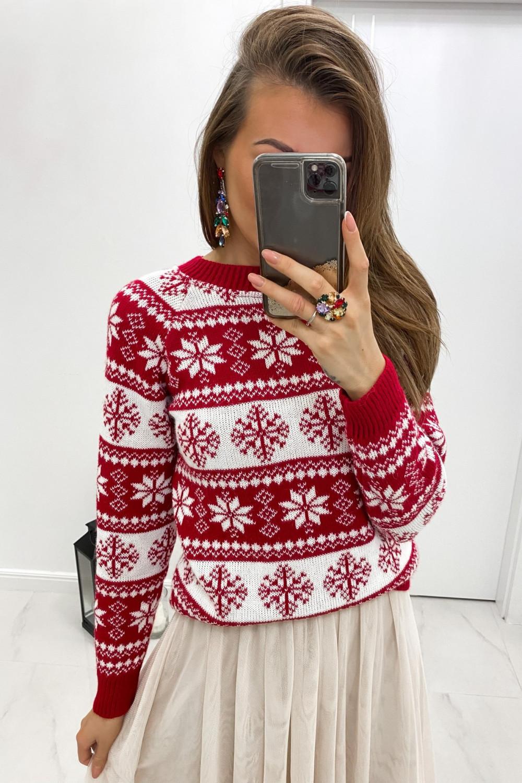 Świąteczny czerwony sweter Snowfall 1
