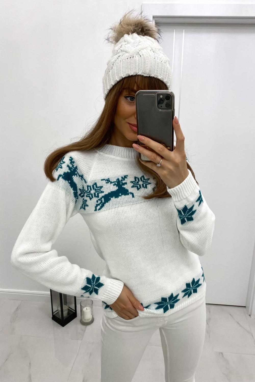 Sweter świąteczny niebieski Renifer 1