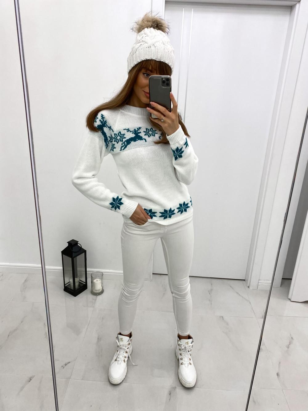 Sweter świąteczny niebieski Renifer 2