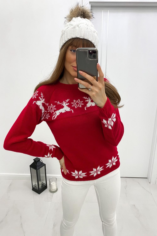 Sweter świąteczny czerwony Renifer 1