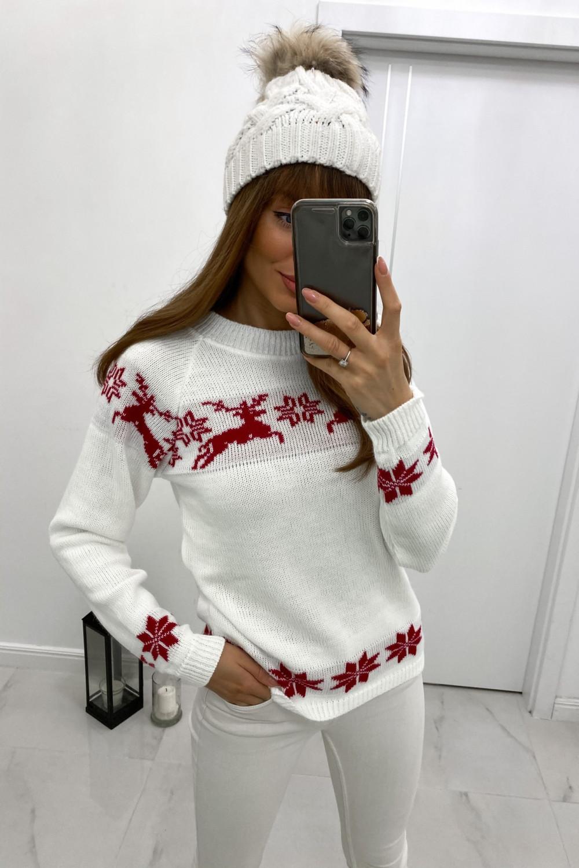 Sweter świąteczny biały Renifer 1