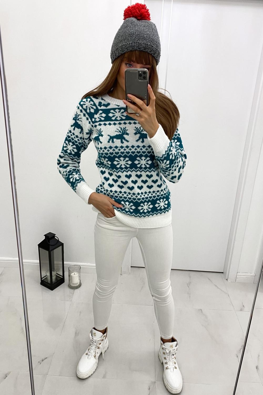 Świąteczny niebieski sweter Snowflakes 1